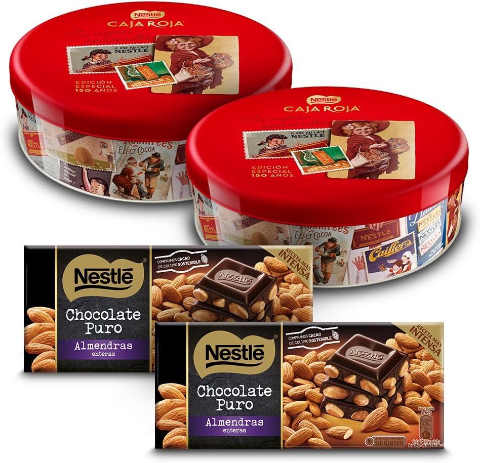Nestlé Caja Roja (Pack de 2 x 250 g) + Nestlé Chocolate Negro con Almendras (Pack de 2 x 200 g): Amazon.es: Alimentación y bebidas