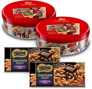 Nestlé Caja Roja (Pack de 2 x 250 g) + Nestlé Chocolate Negro con ...