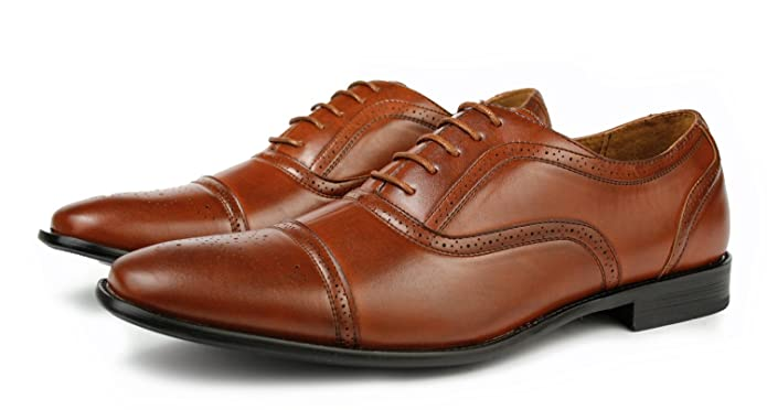 Delli Aldo Fashion Men Oxfords Dress Shoes Lace Up Cap Toe (size 10, Brown)