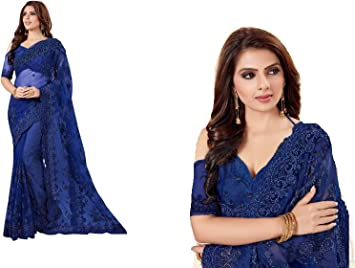 Blue Velvet Net Saree Bollywood Party Ethnic Wedding Designer Sari