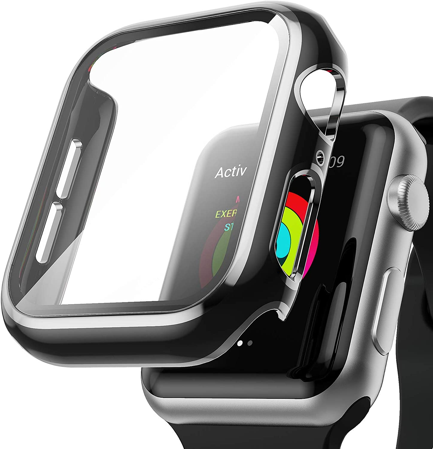 AISIBY Case Compatible with Apple Watch Series 3/2/1 42mm with Built-in Tempered Glass Screen Protector,Silver Edge Black Bumper Full Coverage HD Clear Protective Film Cover for Women Men