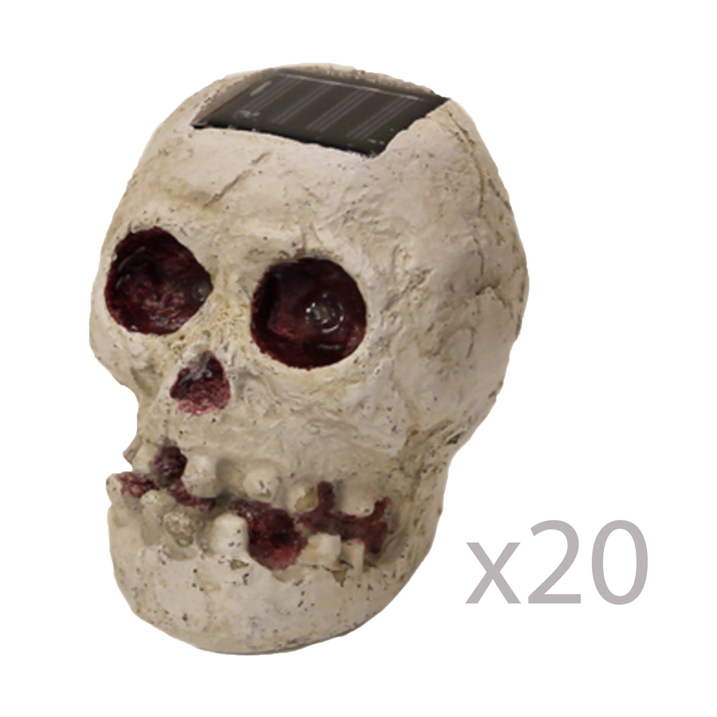 (20 Pack) SKULLar - Solar Powered Outdoor Halloween Skull Fright Light