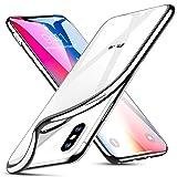 Cover iPhone X [Supporta la Ricarica Wireless], ESR Custodia Trasparente Morbida di TPU [Ultra Leggere e Chiaro] con Paraurti Placcati per Apple iPhone X / iPhone 10 (Uscito a 2017) da 5.8 pollici. (Argento)
