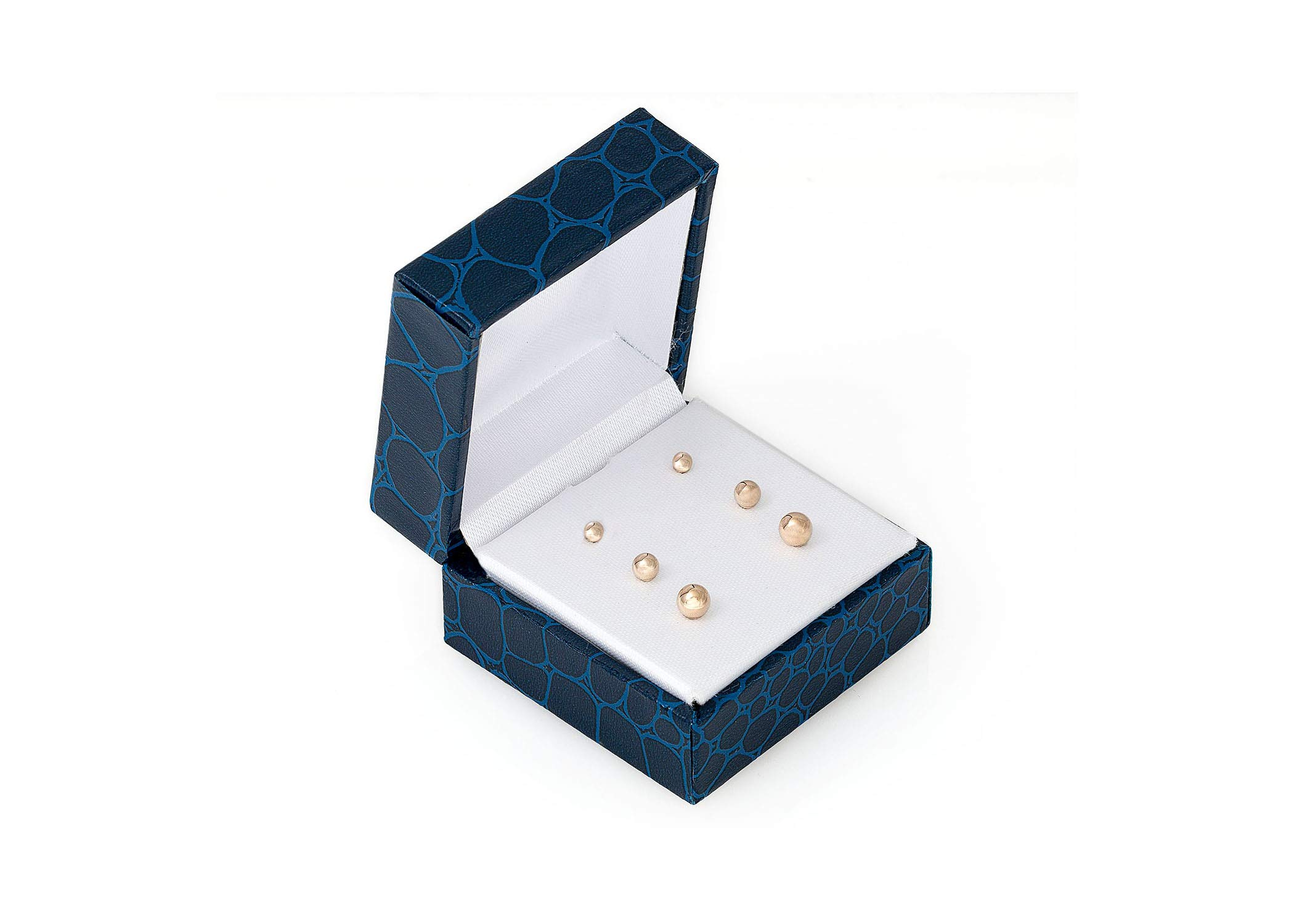 14K Solid Gold Ball Stud Earrings (3-Pair-Pack) 3MM 4MM AND 5MM… Choose a color (Yellow)