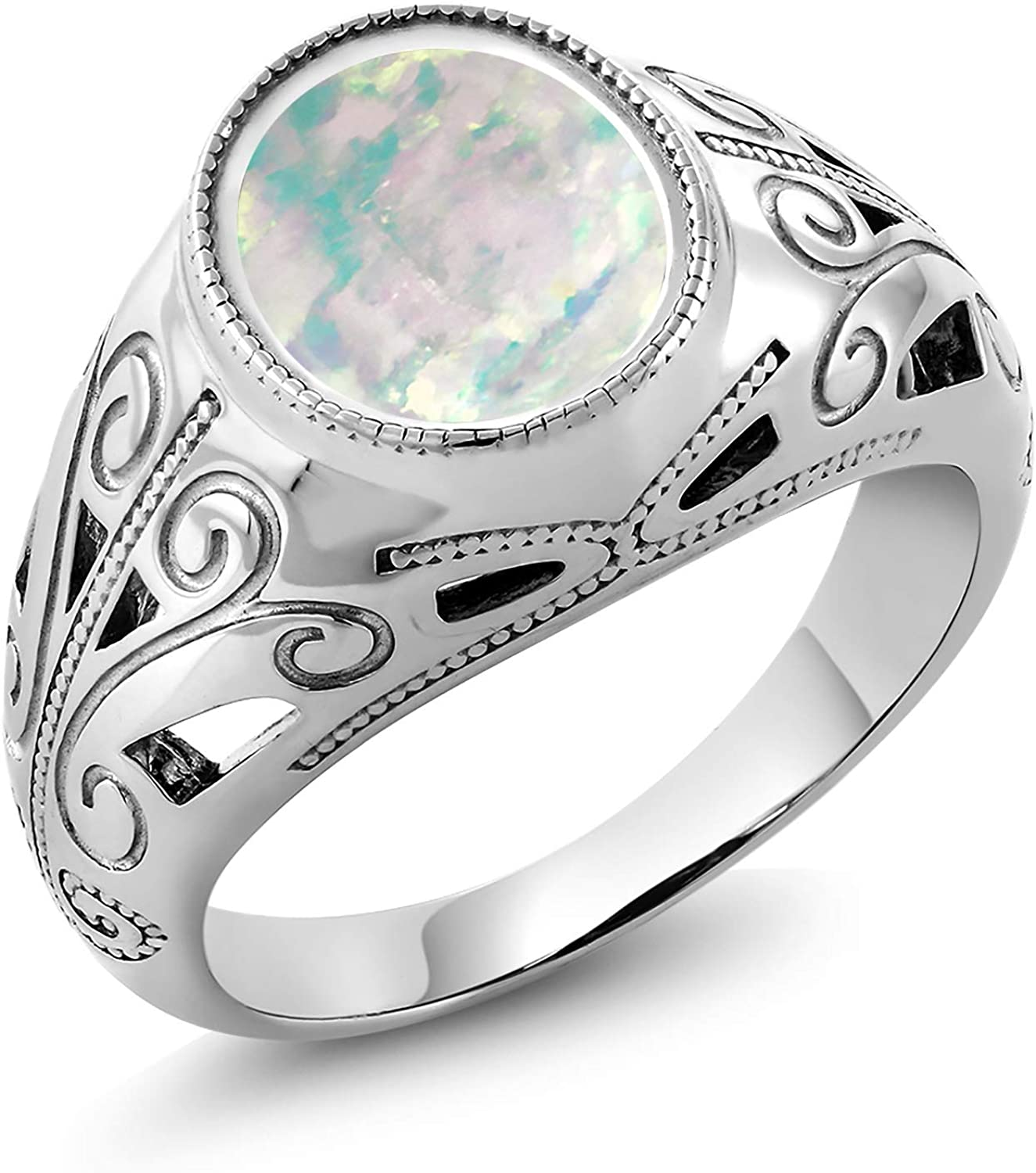 Gem Stone King 925 Sterling Silver Oval White Simulated Opal Men's Ring 4.00 Ct (Available 7,8,9,10,11,12,13)