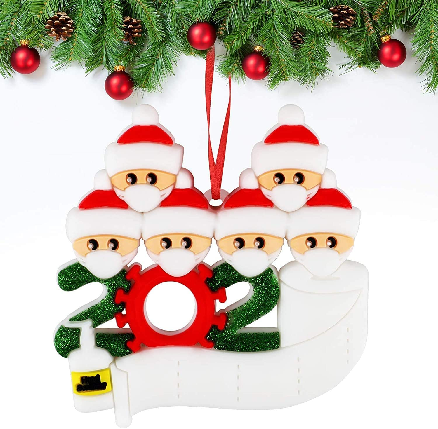 LOZAYI 2020 Christmas Tree Ornaments - Personalized Customized Christmas Ornament Kits Survivor Family of 1-7, DIY Family Name Christmas Decorations Xmas Gifts Home Decor Doll Gifts(Family of 6)