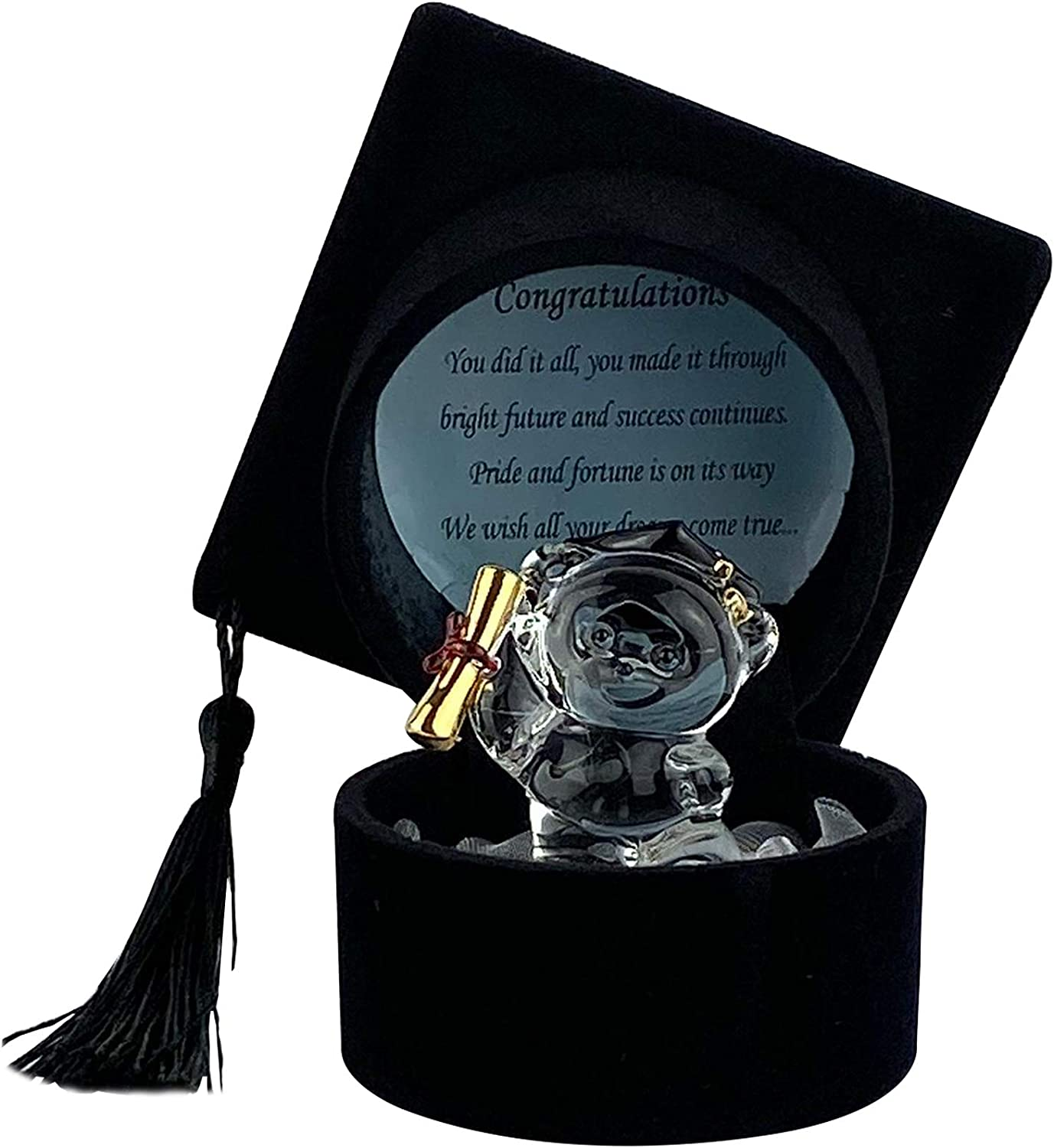 Graduation Gift Crystal Teddy Bear With Mortarboard Cap Ornament Present