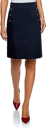 oodji Collection Mujer Falda Recta con Botones Decorativos, Azul ...