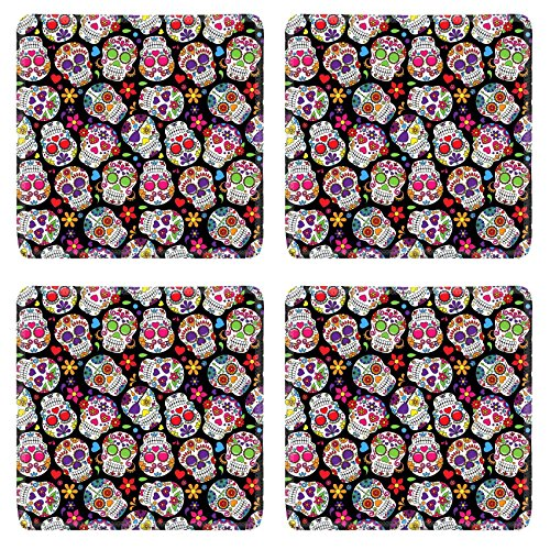 Images Of Day Of The Dead Costumes (Luxlady Natural Rubber Square Coasters IMAGE ID: 36626880 Day of the Dead Sugar Skull Seamless Vector Background)