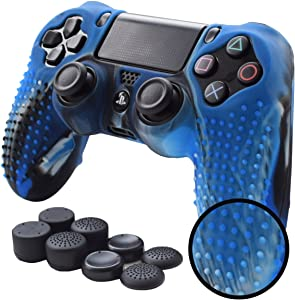 Pandaren PS4 Controller Skin Studded Anti-Slip Silicone PS4 Controller Cover Set for PS4 /Slim/PRO Controller(CamouBlue Controller Skin x 1 + FPS PRO Thumb Grips x 8)