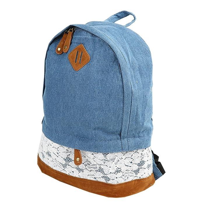 Vintage para Mujer bolso bandolera mochila de tela vaquera para el hombro de mochilas escolares con: Amazon.es: Ropa y accesorios