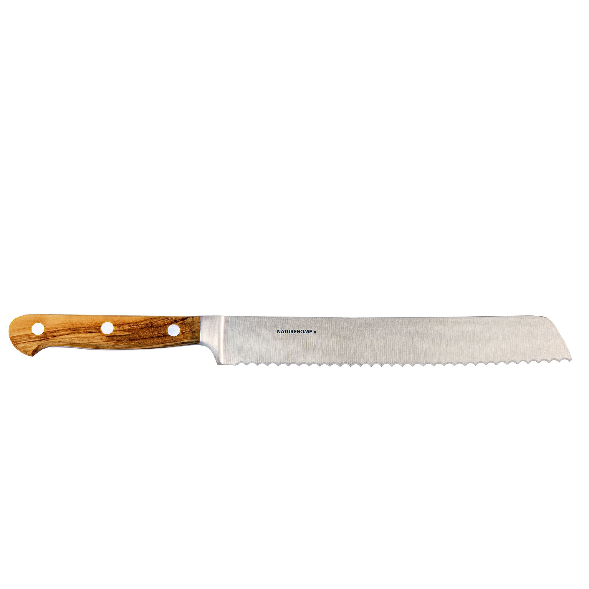 NATUREHOME Bread Knife - Exclusive - Olive Wood Handle - Stainless Steel Giesser Blade 7.9''