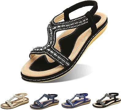 Camfosy Damer platt sommar tåseparation, strandsandaler elastiska mysiga vävda skor färgglada strass ankelremmar fritid semester halkfri sommar – svart beige blå