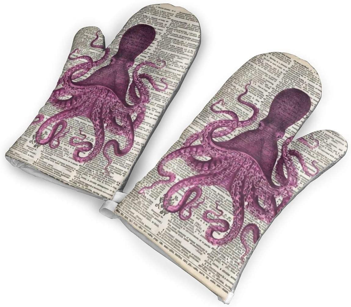 not Vintage Page Pink Octopus Oven Mitts with Polyester Fabric Printed Pattern,1 Pair of Heat Resistant Oven Gloves for Cooking,Baking,Grilling,Barbecue Potholders