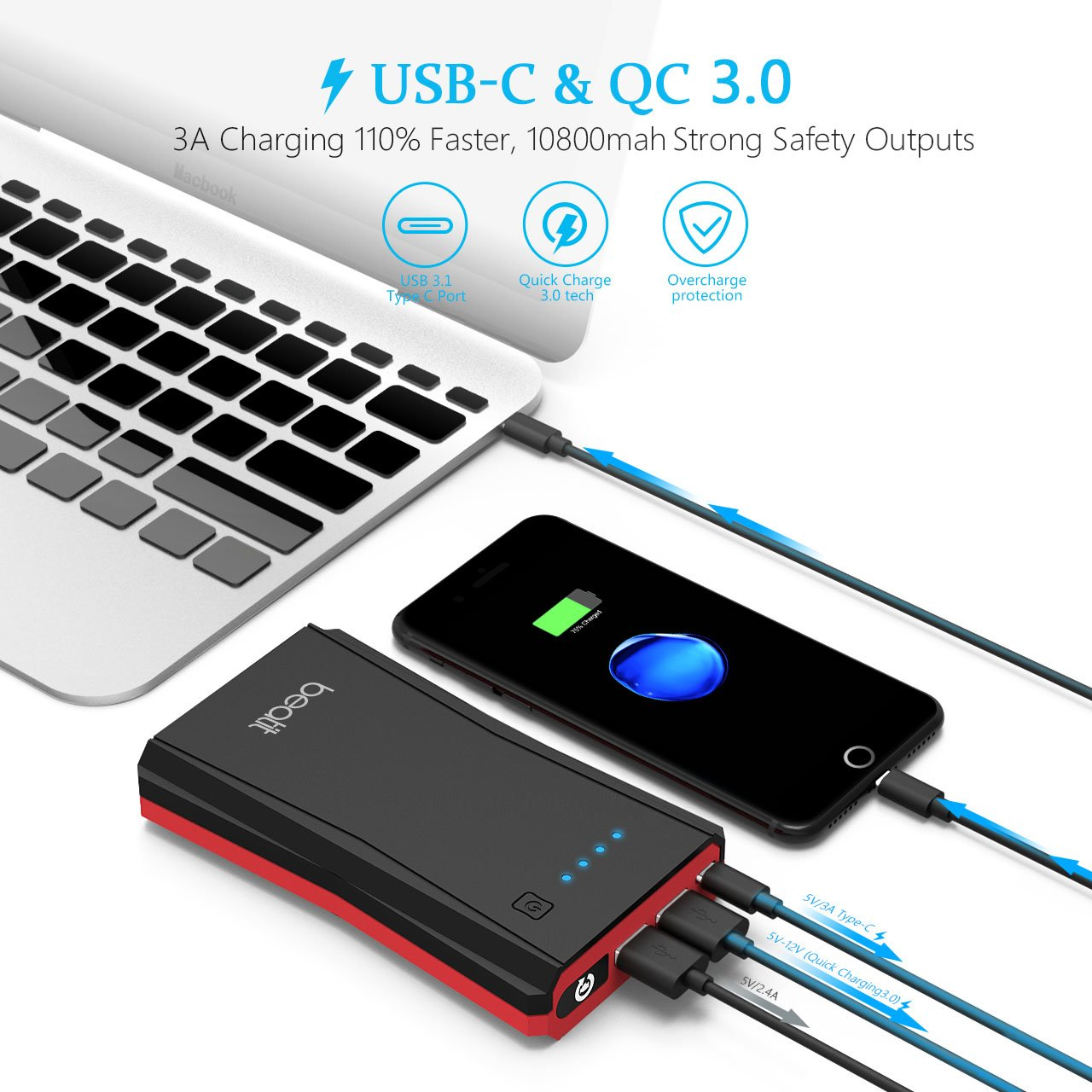 Beatit BT-B10 Portable Jump Starter Power (with USB Type-C 5V/3A Port Auto Battery Booster Charger) by Beatit (Image #5)