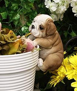 Ebros Lifelike Pot Pal Hanging Bulldog Puppy Pooch Dog Statue 7.5