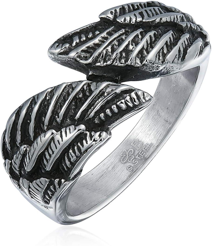 Bling Jewelry Angel Religiosa Pluma De ala Banda Derivación Anillo para Hombres Y para Mujer De Acero Inoxidable Tono Plata Oxidada