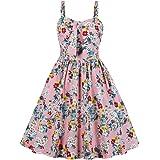 afcf1d0afc1 Wellwits Women s Summer Floral Print High Waist Strap Vintage Dress Sundress