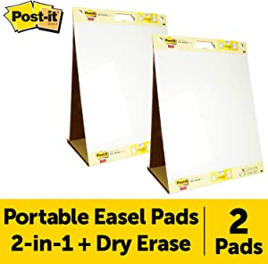 Post-it Super Sticky Portable Tabletop Easel Pad w/Dry Erase Panel 20x23 Inches, 20 Sheets/Pad, 2 Pads, One Side White Self Stick Flip Chart Paper, One Side Dry Erase, Built-in Stand (563DE VAD 2PK)