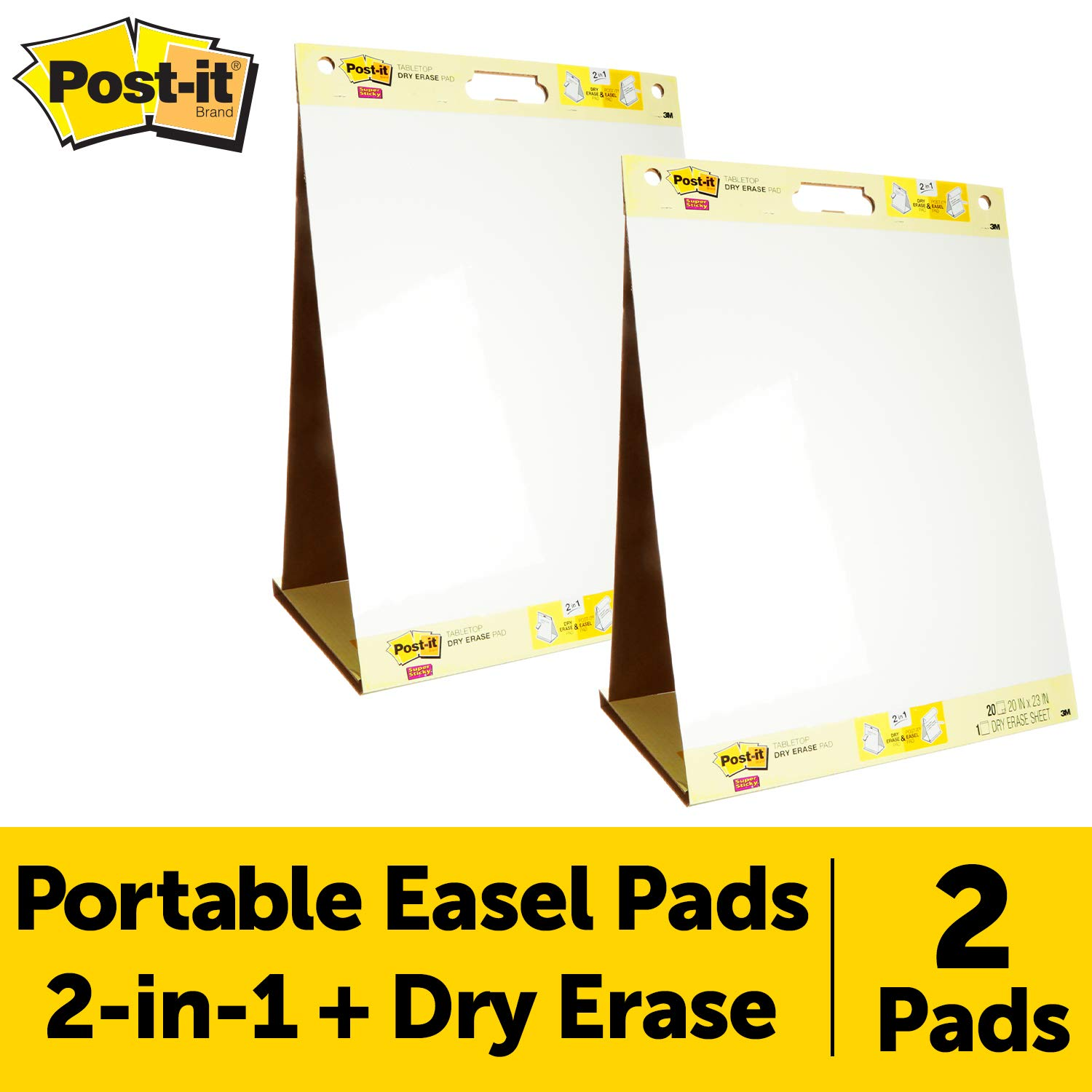 Post-it Super Sticky Portable Tabletop Easel Pad w/Dry Erase Panel 20x23 Inches, 20 Sheets/Pad, 2 Pads, One Side White Self Stick Flip Chart Paper, One Side Dry Erase, Built-in Stand (563DE VAD 2PK) by Post-it