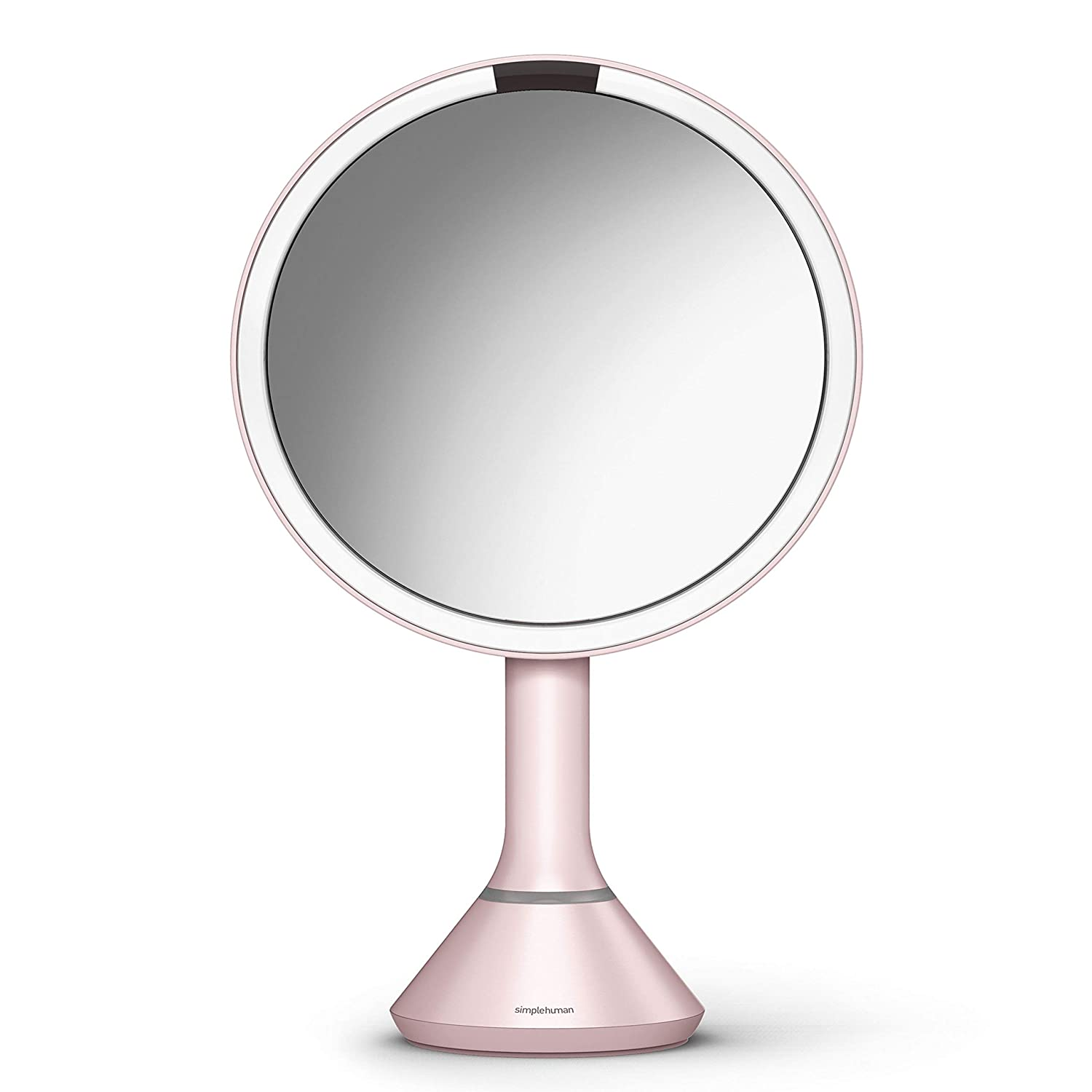 "simplehuman Sensor Lighted Makeup Vanity Mirror, 8"" Round with Touch-Control Brightness, 5X Magnification, Pink Stainless Steel, Rechargeable and Cordless"