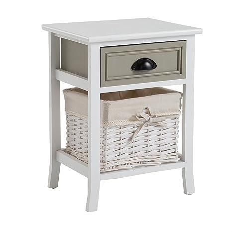 CARO-Möbel Nachttisch Nachtschrank Nachtkommode Toscana in weiß, Shabby  Chic Vintage Look, mit 1 Schublade und Korb