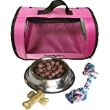 Perfect Petzzz Pink Tote For Plush Breathing Pets with Dog Food, Treats, and Chew Toy