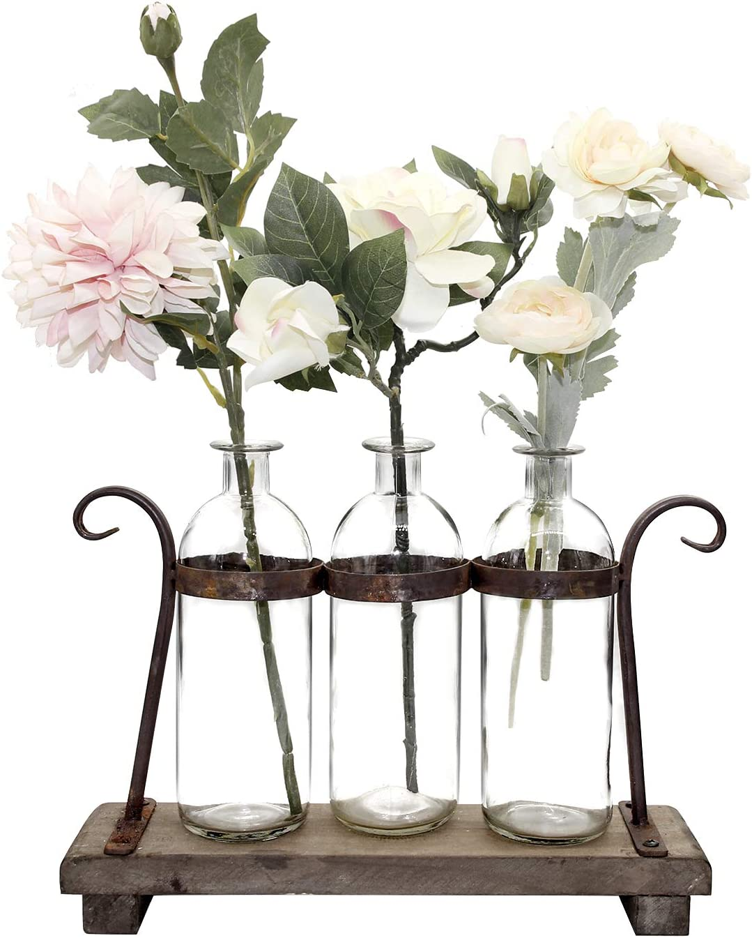 FUNSOBA Rustic Flower Vase Set with Rack Stand Farmhouse Glass Bottles for Decor Table centerpieces