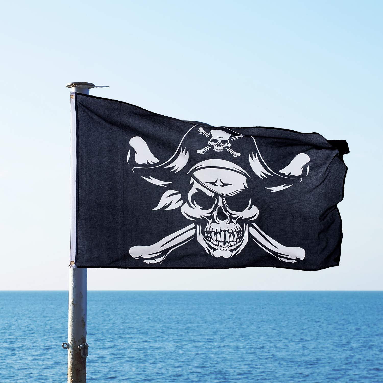 Totenkopf Piratenflagge Halloween Dekoration Flaggen f/ür Pirat Halloween Party Outdoor Dekoration und Geschenke Whaline 7,6 x 152,4 m Halloween Jolly Roger Flagge lebendige Farben und UV-best/ändig.