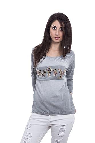 Abbino Futura Camisetas Tops para Mujer - Hecho EN Italia - Colores Variados - Camisas Entretiempo P...