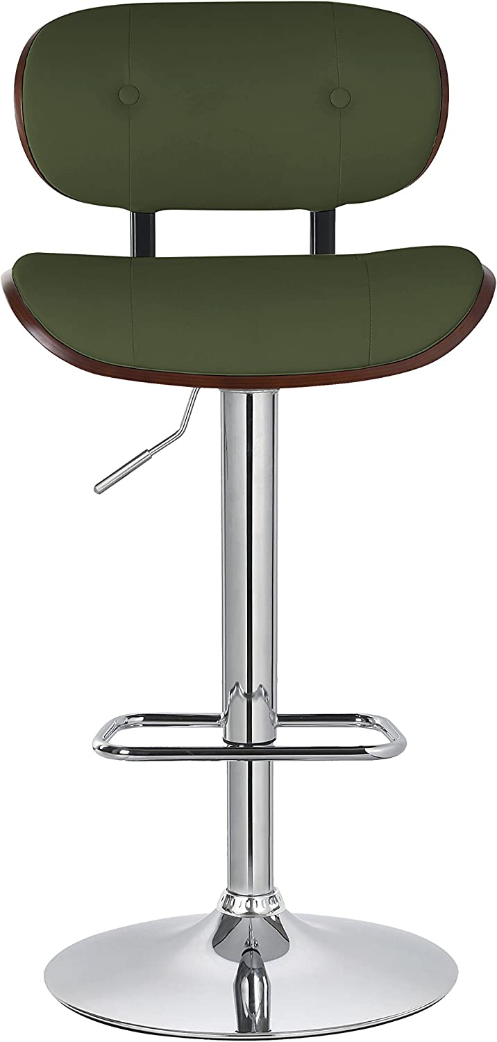 Porthos Home Button-tufted Adjustable Caine Barstool, Green