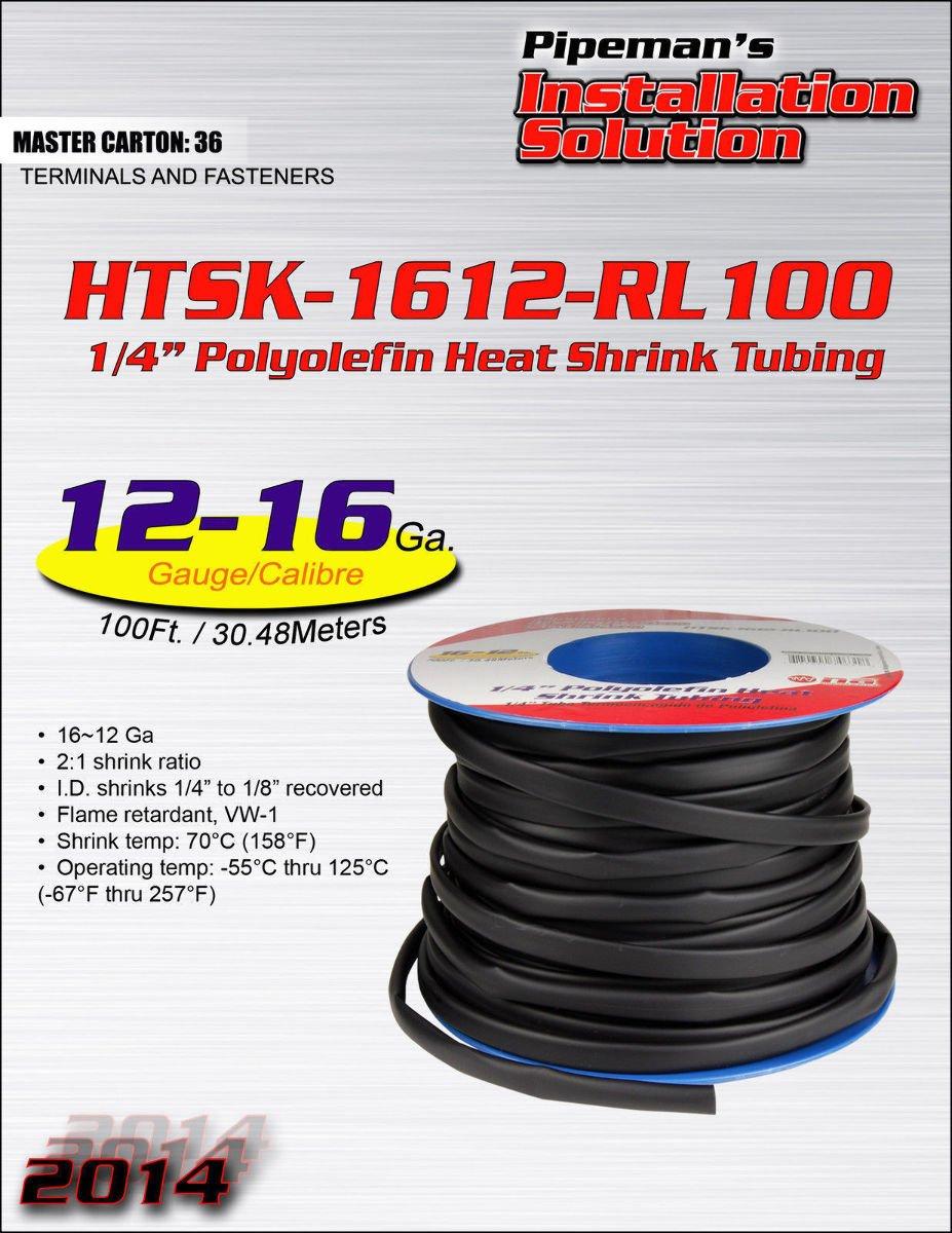 100 feet 1/4'' Polyolefin Black Heat Shrink Tubing 2:1 Sleeving Wrap 16-12 gauge