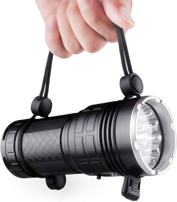 Lzonunl Super Bright 18 LED mit 3 Beleuchtungsmodus IP 65 wasserdicht 50000 Stunden Lebensdauer Taschenlampe f/ür Outdoor-Camping Wandern Notfall 12000 Lumen wiederaufladbare Taschenlampe