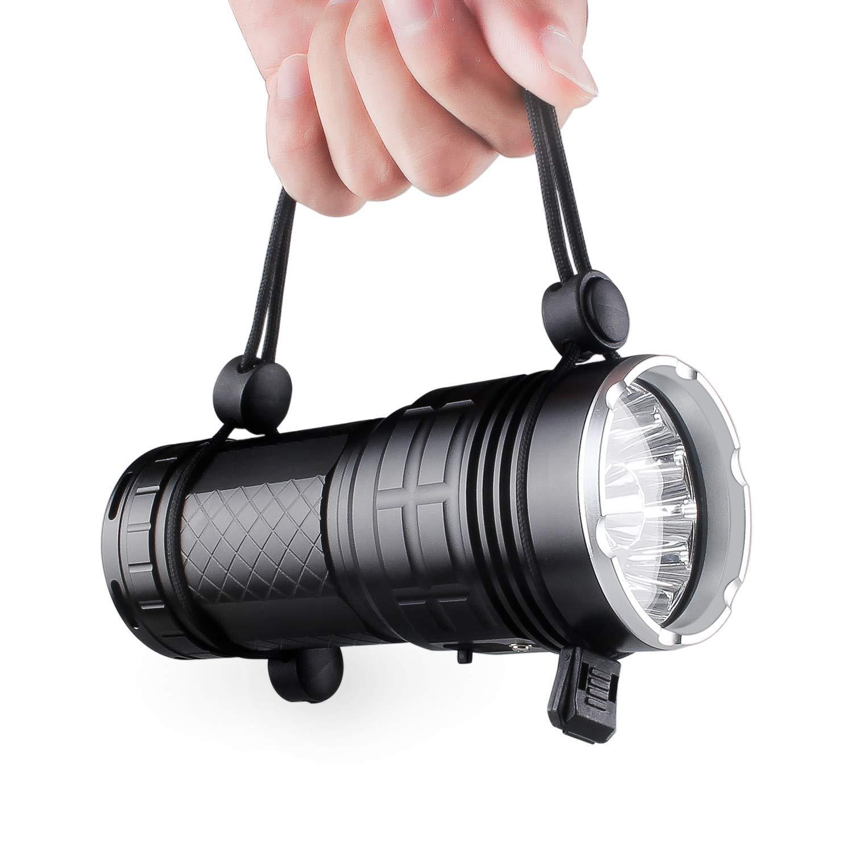 Tactical lampe de poche rechargeable 4/x 18650/Piles incluses 300/m Distance d/éclairage USB de chargement avec 12/x XM-L T6/LED pour camping randonn/ée Panne de secteur 10000/lumens lampe de poche