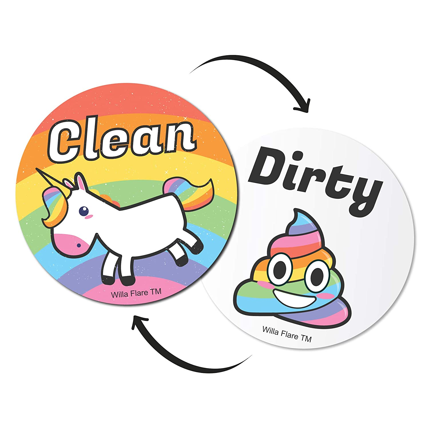 Emoji And Unicorn Clean Dirty Dishwasher Magnet Sign | Kitchen Label For Home Organization | Funny Novelty Gag Gifts Under 10 Dollars | Double Sided (Emoji, Updated 3.5 Inch)