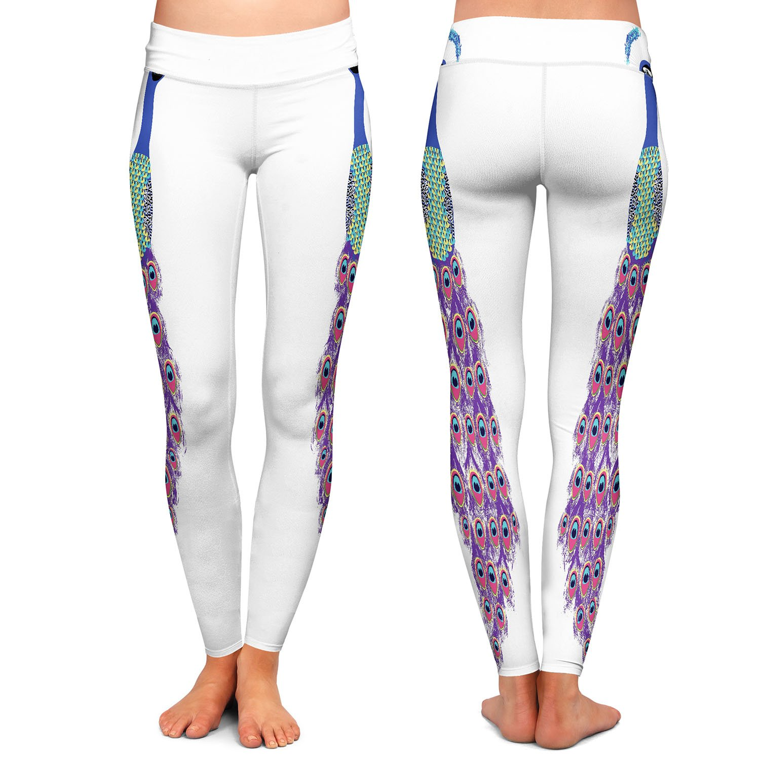 Athletic Yoga Leggings from DiaNoche Designs by Metka Hiti Peacock White