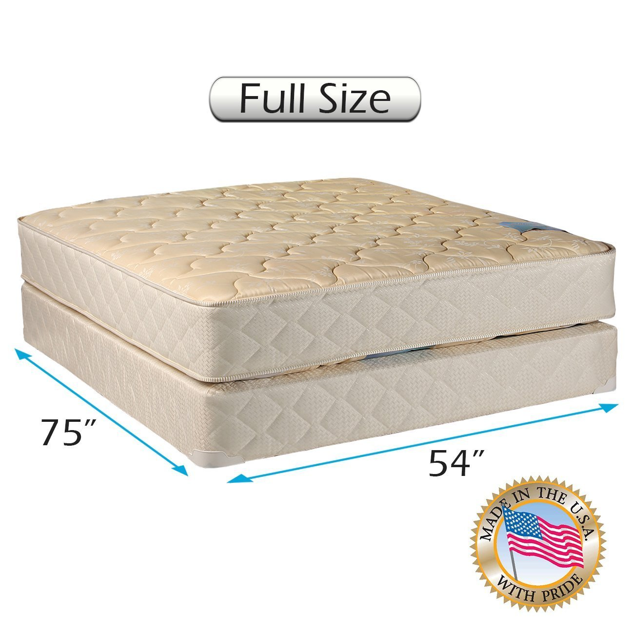 Chiro Premier Gentle Firm (Beige) Two-Sided Full Mattress Set with Mattress Cover Protector Included - Flippable, Fully Assembled, Orthopedic, Long Lasting by Dream Solutions USA by Dream Solutions USA
