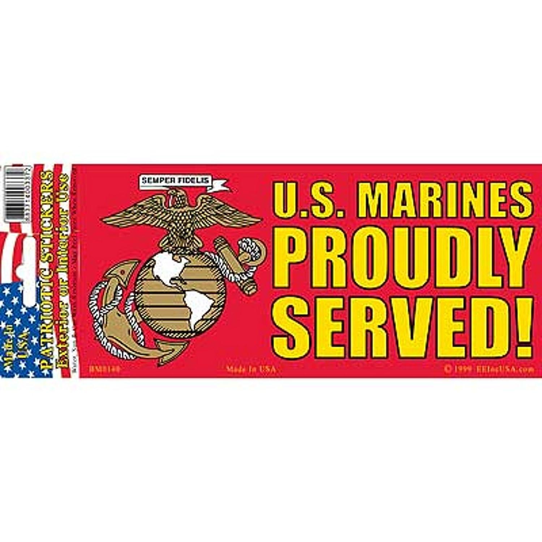 Proudly Served EagleEmblems BM0140 Sticker-USMC Logo,Proudly Served 3x6.5/'/' 3x6.5