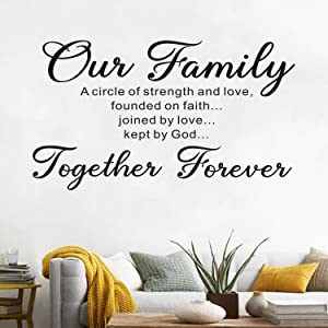 AnFigure Living Room for Wall Decals, Family Wall Decals, Quote Scripture Home Art Decor Vinyl Stickers Our Family is A Circle of Strength and Love Founded On Faith Joined in Love Kept by God 28