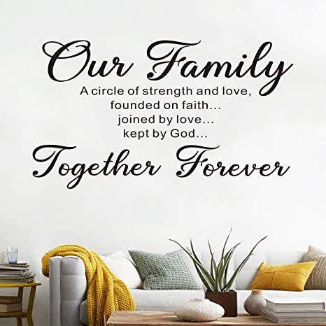 Amazon Com Anfigure Wall Decals Quotes Scripture Wall Decal Bible Verse Living Room Home Art Decor Vinyl Stickers Our Family Is A Circle Of Strength And Love Founded On Faith Joined In Love