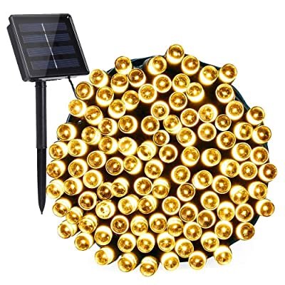 Toodour Solar String Lights, 72ft 200 LED 8 Modes Outdoor String Lights, Waterproof Solar Fairy Lights for Garden, Patio, Fence, Holiday, Party, Balcony Decorations (Warm White) : Garden & Outdoor