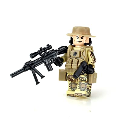 Battle Brick Marine Force Recon Sniper (SKU43) Custom Minifigure: Toys & Games