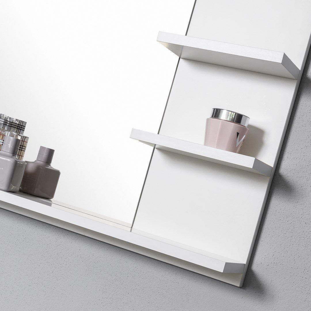 DOMTECH Illuminazione a LED Colore: Bianco Specchio da Bagno con mensola
