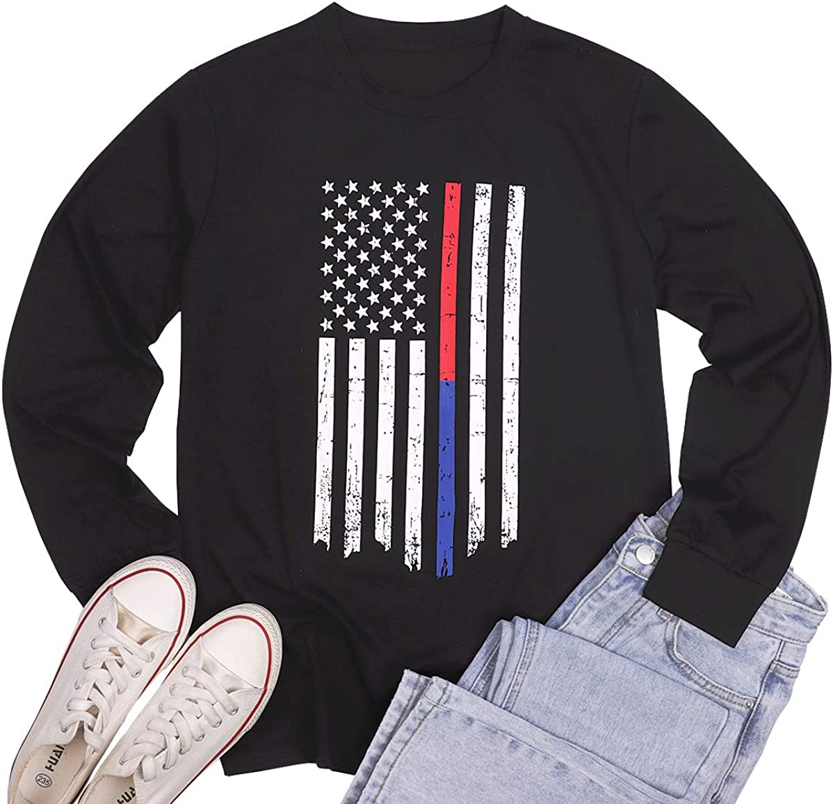 MOUSYA Women American Flag Shirt Vintage Stars Stripes Patriotic Tee Shirt USA Flag Graphic Long Sleeve Round Neck Tops