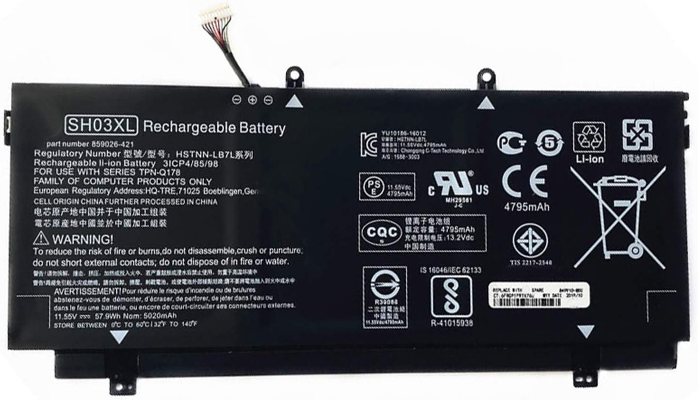 SUNNEAR SH03XL 859356-855 Laptop Battery Replacement for HP Spectre X360 13-W000 13-W013DX 13-AC033DX Series Notebook TPN-Q178 859026-421 901345-855 HSTNN-LB7L 11.55V 57.9Wh - Connector line 30mm