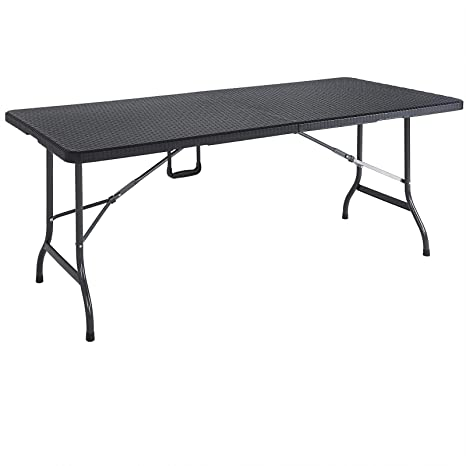 Casaria Table de Jardin Pliable Plastique polyrotin Noir 180cm fête ...