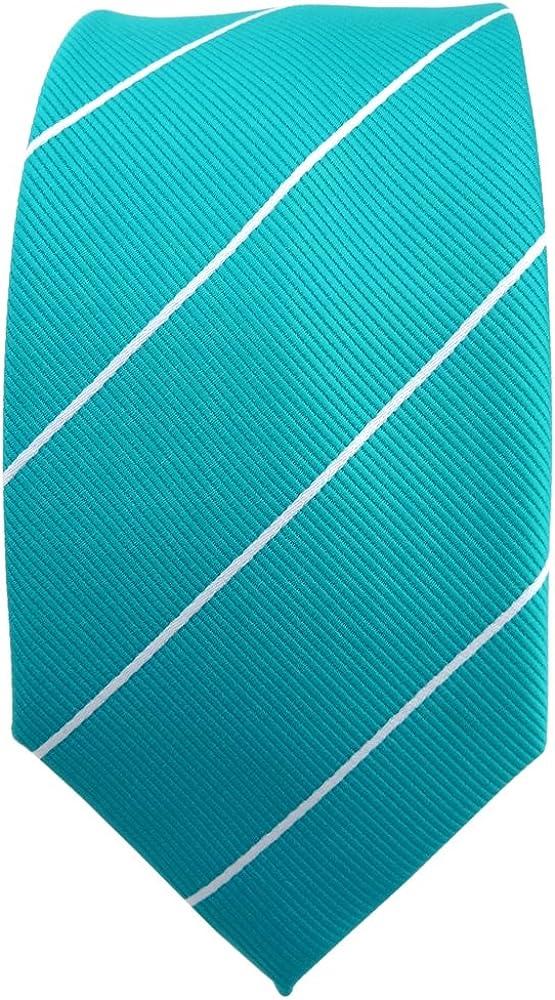 TigerTie - corbata estrecha - turquesa azul turquesa plata rayas ...