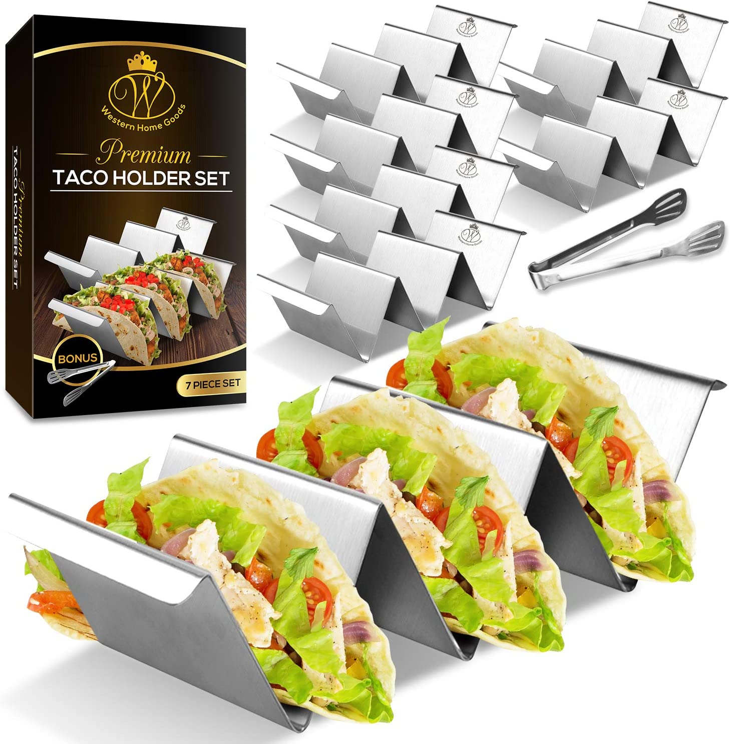 Set of 6 Taco Holder Stand – Dishwasher & Oven Safe Taco Stand with Bonus Serving Tongs - Easy to Serve Taco Rack - Taco Tray with Handles by Western Home Goods