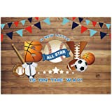 Funnytree 7x5ft All Star Sports Party Backdrop Baseball Little Boy Baby Shower Rustic Wooden Photography Background…