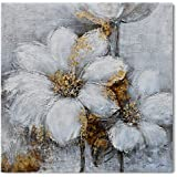 Yihui Arts Canvas Wall Art Daisy White Bloosom Flowers Artwork Painting Prints Modern Floral Picture Framed for Bedroom Kitch